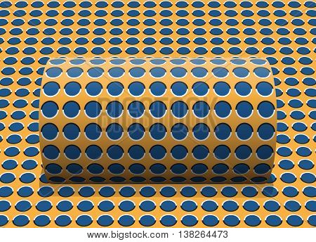 Polka dot cylinder is rolling along the inclined surface. Abstract vector optical illusion illustration.