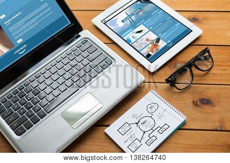 business, responsive design and technology concept - close up of on laptop computer, tablet pc, notebook and eyeglasses with world news and scheme on wooden table