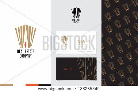 Vector : Real Estate Logo With Business Name Card And Corporate Pattern In Luxury Geometric Style, B