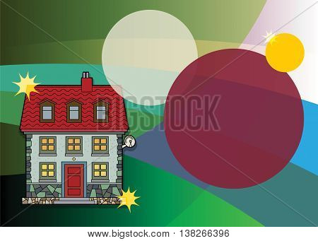 Abstract background with color house, vector illustration