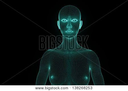 Female Human Wireframe Hologram in Motion. Nice 3D Rendering