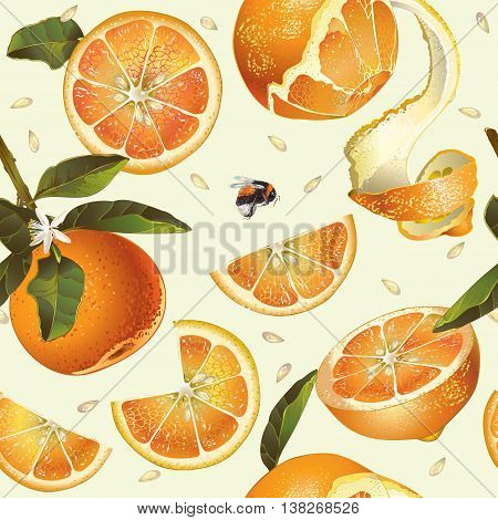 Vector orange seamless pattern. Background design for juice, tea, natural cosmetics, bakery with orange filling, farmers marcet, grocery , health care products. Best for fabric, textile, wrapping paper.
