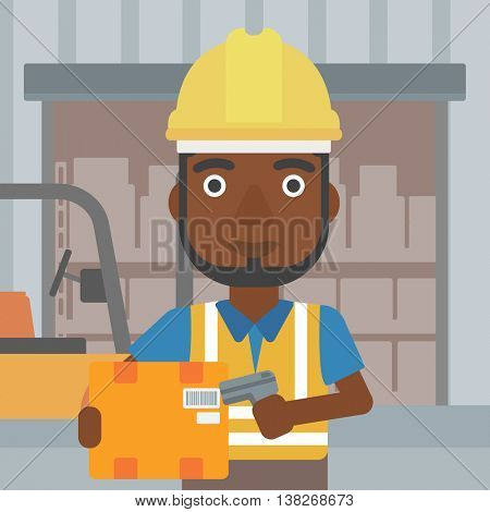 An african-american warehouse worker scanning barcode on box. Warehouse worker checking barcode of box with a scanner. Man in hard hat with scanner. Vector flat design illustration. Square layout.
