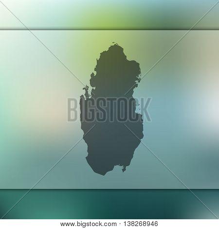 Qatar map on blurred background. Blurred background with silhouette of Qatar. Qatar. Qatar map.