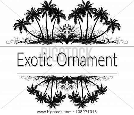 Exotic Ornament, Palm Trees and Grass Black Silhouette and Abstract Grey Floral Pattern with Place for Your Text. Vector
