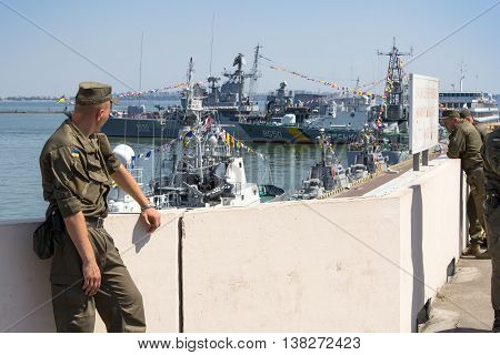 Odesa, Ukraine - July 03, 2016: Soldier of Ukrainian National Guard in the Port of Odesa, guarding during celebration NAVY forces day.
