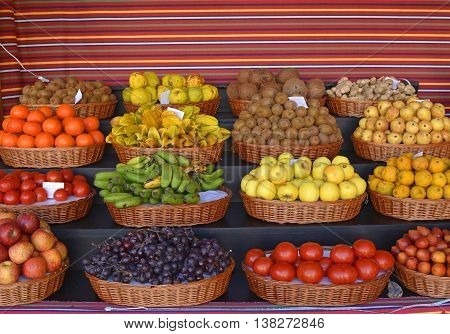 Display of fruits in the indoor market of Funchal Madeira Portugal