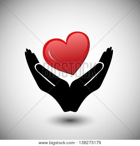 Concept of Donate Organ heart in a hand symbol heart icon in red color
