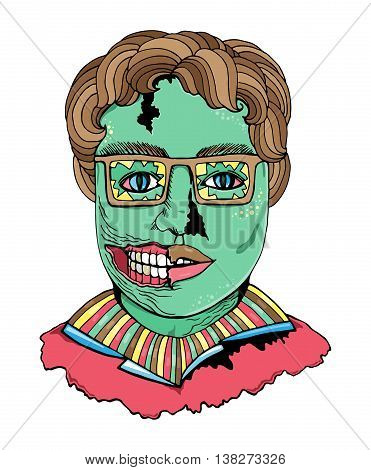 Zombie face in pop art comics style isolated on white background. Vector zombie cartoon man portrait in glasses.