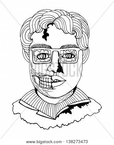 Line art zombie man face in comic sketch style black contour isolated on white background vector.