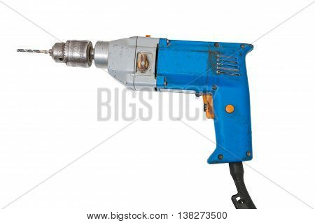 Drill Isolated On White Background. Maintenance Concept.