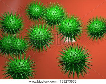 Microbiology concept. 3D illustration of green viruses.