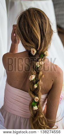 Beautiful Young Girl With Long Hair  Flowers The Tenderness Of The Mystery In A Braid Steed Back