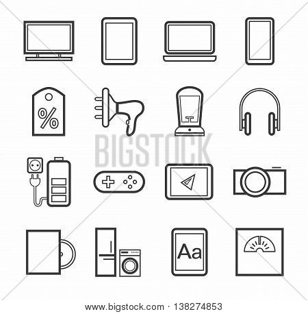 Gadgets, appliances, monochrome icons, outline. Vector linear icons of home appliances, gadgets, and accessories. A dark gray image on a white background.