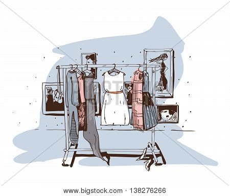 Pastel colored fashion illustration with hand drawn hangers with dresses. Interior with shoes. Vector sketch illustration isolated on white with white accent on central dress on blue background.
