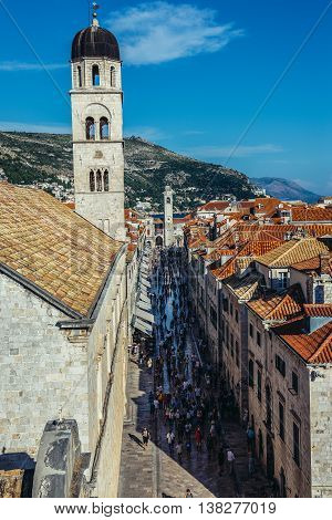 Dubrovnik Croatia - August 26 2015. Aerial view from the Walls of Dubrovnik. Franciscan Monastery and Stradun street on photo
