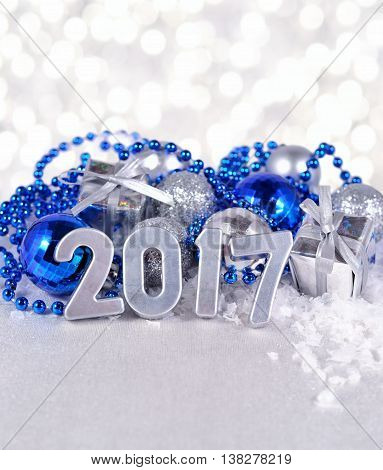 2017 Year Silver Figures And Silvery And Blue Christmas Decorations