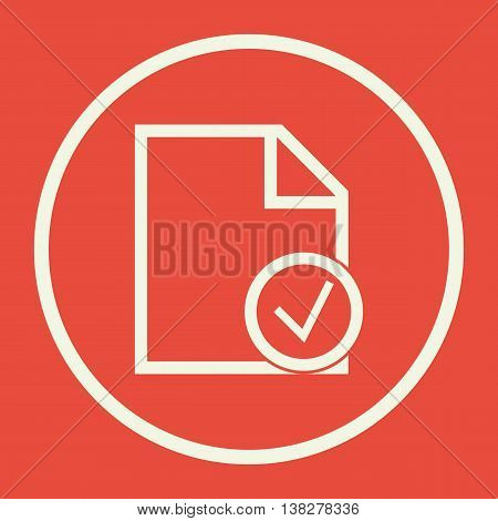 File Accept Icon In Vector Format. Premium Quality File Accept Symbol. Web Graphic File Accept Sign On Red Background. poster