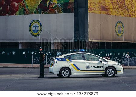 Kiev Ukraine - July 26 2015. Police officer stands at Khreshchatyk Street in Kiev