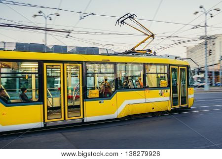 Pilsen Czech Republic - October 2 2015. Yellow tramcar in Pilsen (Plzen)