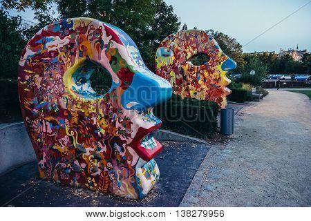 Pilsen Czech Republic - October 2 2015. Colourful scultpures in small park in Pilsen (Plzen) city