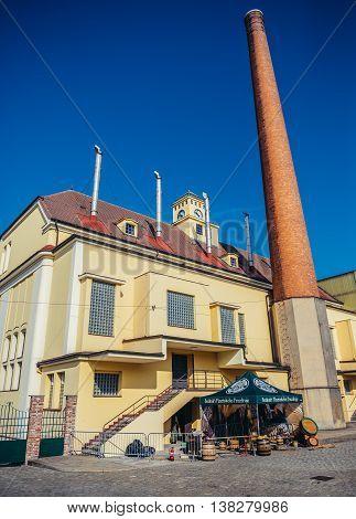 Pilsen Czech Republic - October 3 2015. View of brewhouse of Pilsner Urquell Brewery