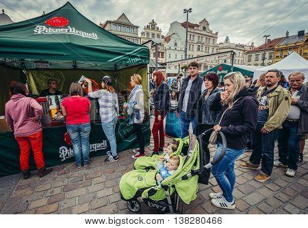 Pilsen Czech Republic - October 3 2015. Participants of Pilsen Fest on the main square of the Old Town of Pilsen (Plzen) city