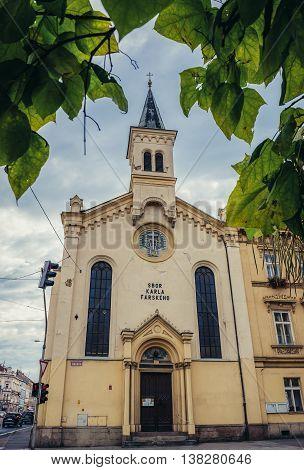 Pilsen Czech Republic - October 3 2015. Main facade of Czechoslovak Hussite Church in Pilsen (Plzen) city