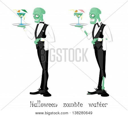 Funny halloween zombie waiter different character: elegant and ragged. Drawing in cartoon style isolated on white background. Vector illustration