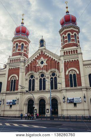 Pilsen Czech Republic - October 3 2015. Gothic style Great Synagogue in Pilsen (Plzen) City