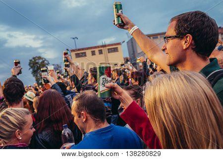 Pilsen Czech Republic - October 3 2015. Participants of Pilsen Fest during music concert in Pilsner Urquell Brewery area