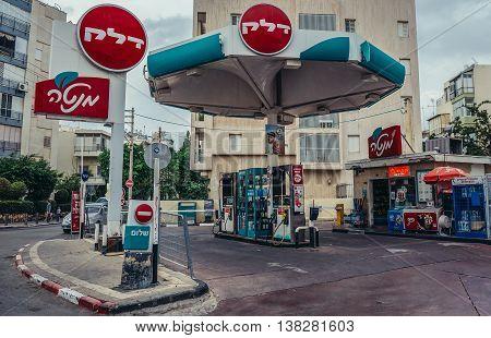 Tel Aviv Israel - October 19 2015. Delek company gas station in Tel Aviv