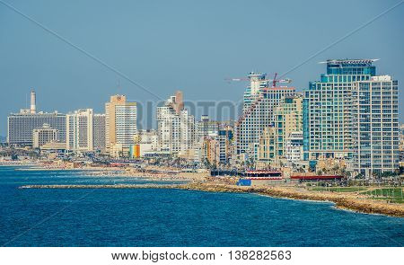 Tel Aviv Israel - October 20 2015. Aerial view from Abrasha park with hotels and residential skyscrapers situated by the sea in Tel Aviv