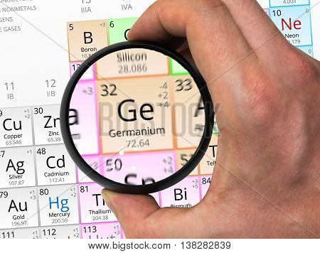 Germanium Symbol - Ge. Element Of The Periodic Table Zoomed With