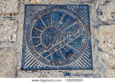 Tel Aviv Israel - October 20 2015. Close up on manhole cover in Jaffa also called Japho or Joppa former port city now part of Tel Aviv