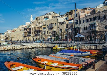 Tel Aviv Israel - October 20 2015. Boats and houses in Jaffa also called Japho or Joppa former port city now part of Tel Aviv