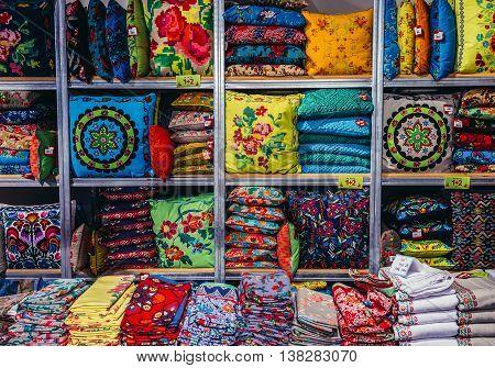 Tel Aviv Israel - October 20 2015. Pillows and blankets in shop in historic Neve Tzedek district (lit. Abode of Justice) of Tel Aviv