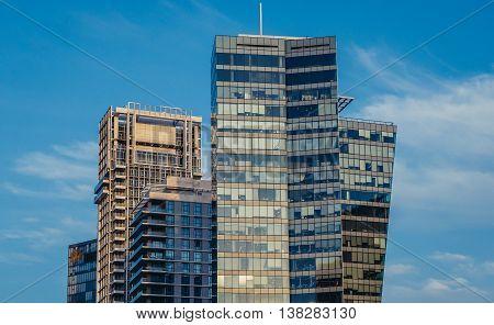 Tel Aviv Israel - October 20 2015. Modern office buildings and residential skyscrapers seen from Rothschild Boulevard