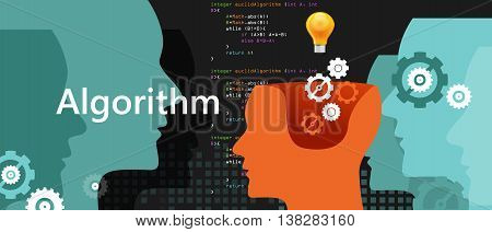 computer algorithm computer science problem solving process with programming language code concept light bulb and gear vector