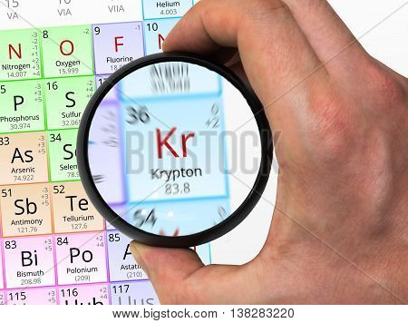 Krypton Symbol - Kr. Element Of The Periodic Table Zoomed With M