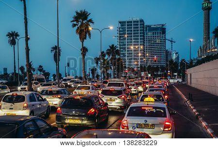 Tel Aviv Israel - October 20 2015. Traffic jam at HaYarkon Street in Tel Aviv