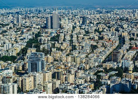 Tel Aviv Israel - October 21 2015. Aerial view from 49th floor of Circular Tower one of three skyscrapers of Azrieli Center complex in Tel Aviv