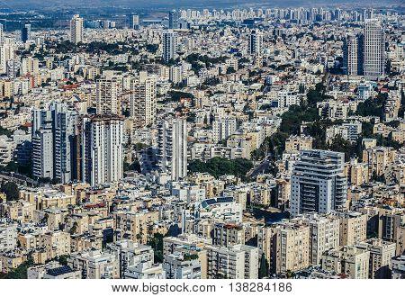 Tel Aviv Israel - October 21 2015. Aerial view from 49th floor of Circular Tower one of three skyscrapers of Azrieli Center complex in Tel Aviv