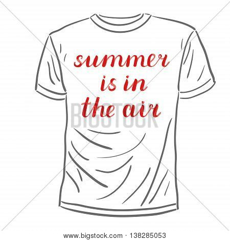 Summer is in the air. Brush hand lettering on a sample t-shirt. Great for beach tote bags, swimwear, holiday clothes, pillowcases, posters, cards, and more.