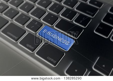 E-business Key On Black A Keyboard Closeup. -commerce Concept Image.