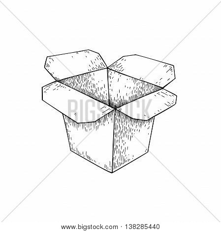 Chinese food box vector drawing. Isolated packaging for take out restaurant meal. Box for wok or asian noodles