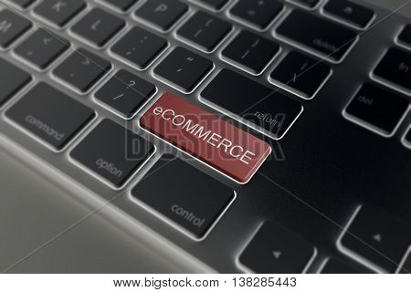 Red E-commerce Button On A Keyboard