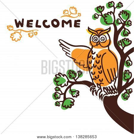 Hand drawn owl character pointing at welcome sign
