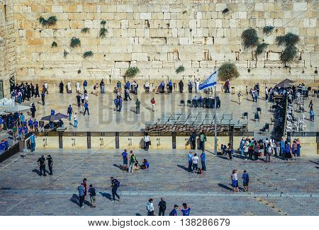 Jerusalem Israel - October 22 2015. Tourists and pilgrims in front of Wailing Wall on the Old Town of Jerusalem