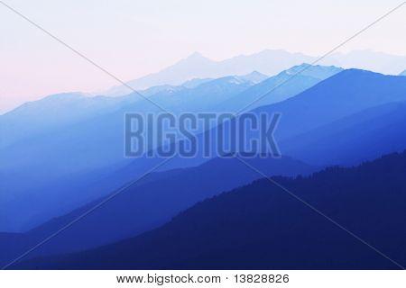 Blue mountain silhouette